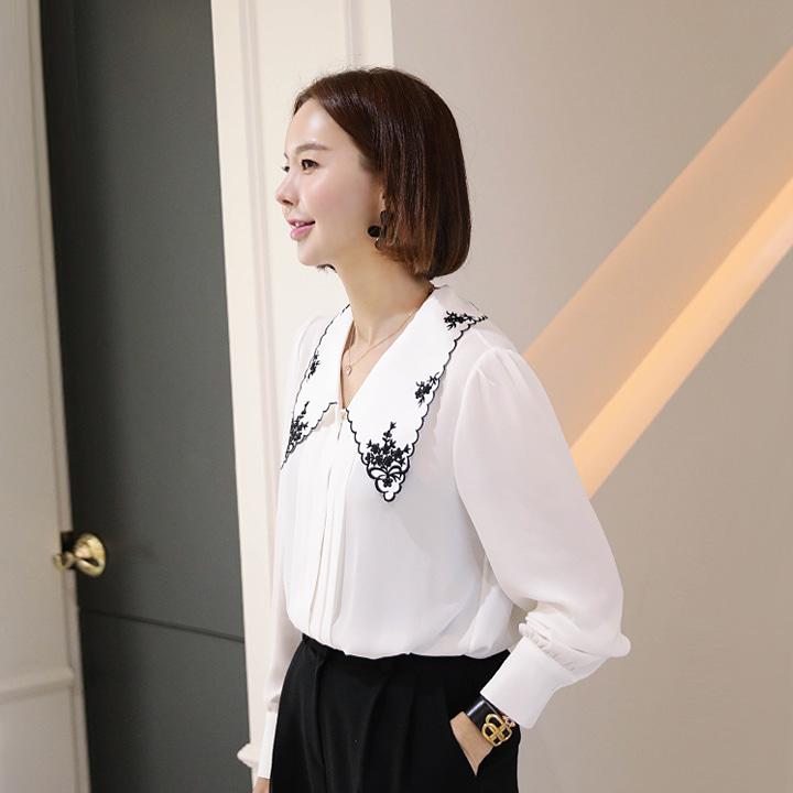 lemite-플라워페이스 카라블라우스♡韓國女裝上衣