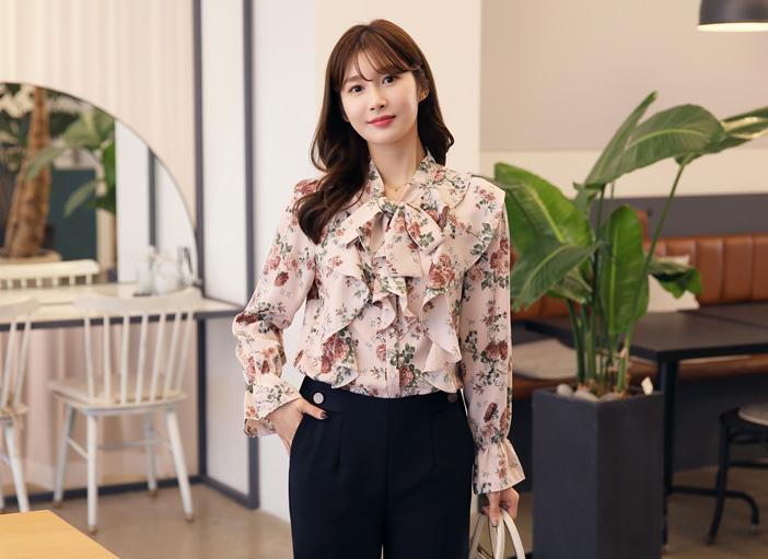 clicknfunny-[로플라워 리본블라우스]♡韓國女裝上衣