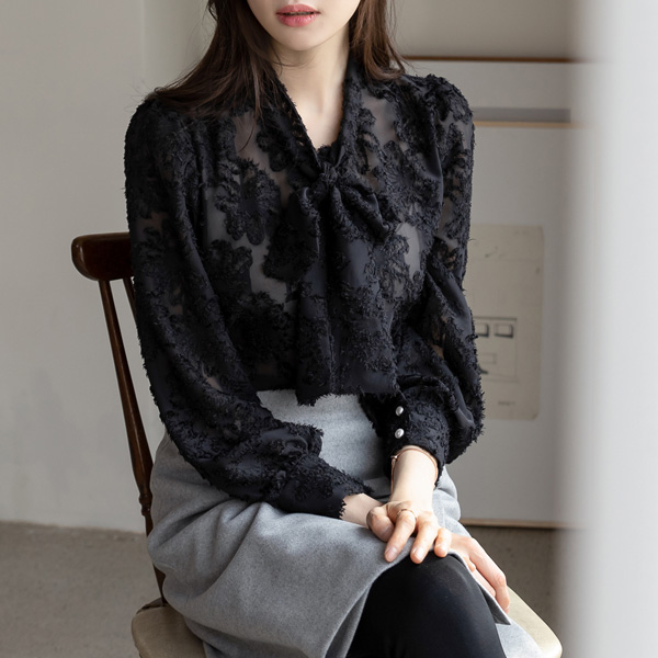 misscandy-[no.18297 리본타이 진주버튼 수술블라우스]♡韓國女裝上衣