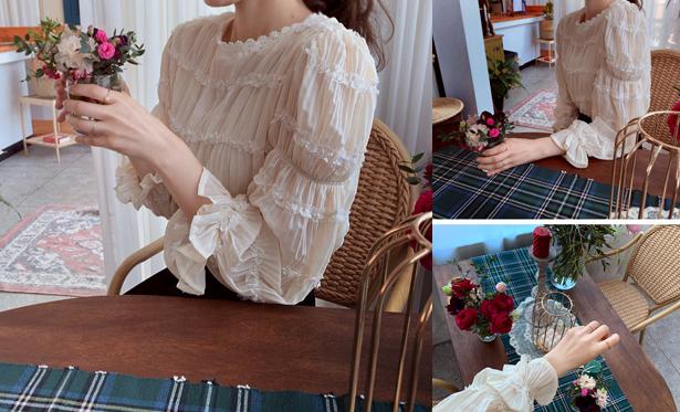 leelin-[샤베트 신축레스  블라우스]♡韓國女裝上衣