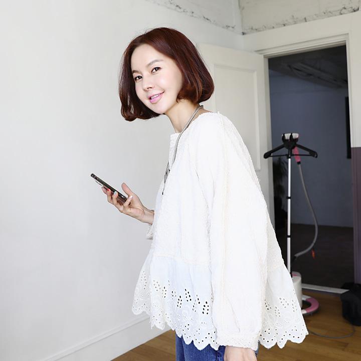 lemite-엔틱펀칭 마랑블라우스♡韓國女裝上衣