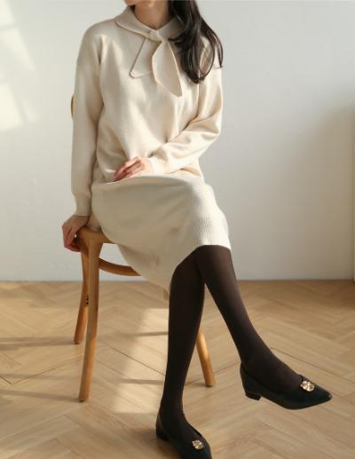 indibrand-리본 타이 원피스 (수입)♡韓國女裝連身裙