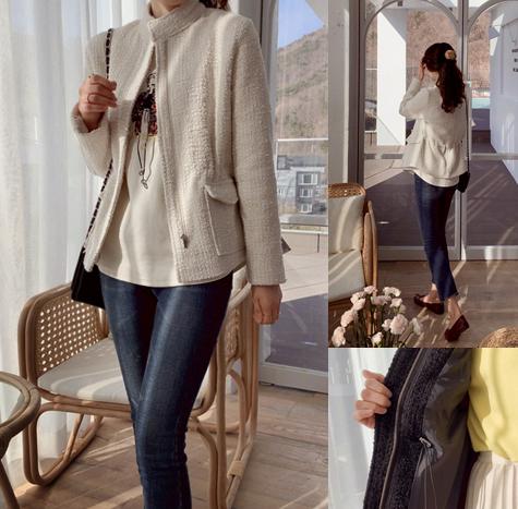 leelin-[하이젠 은은한 트위딩 자켓]♡韓國女裝外套