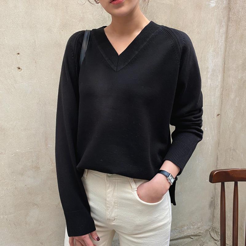 uptownholic-[루인 브이넥 knit (*5color)]♡韓國女裝上衣