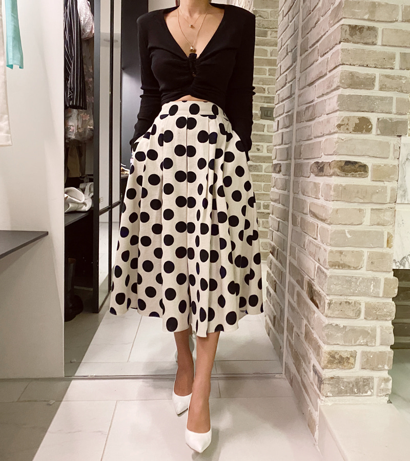 walkingcoco-dot long skirt♡韓國女裝裙