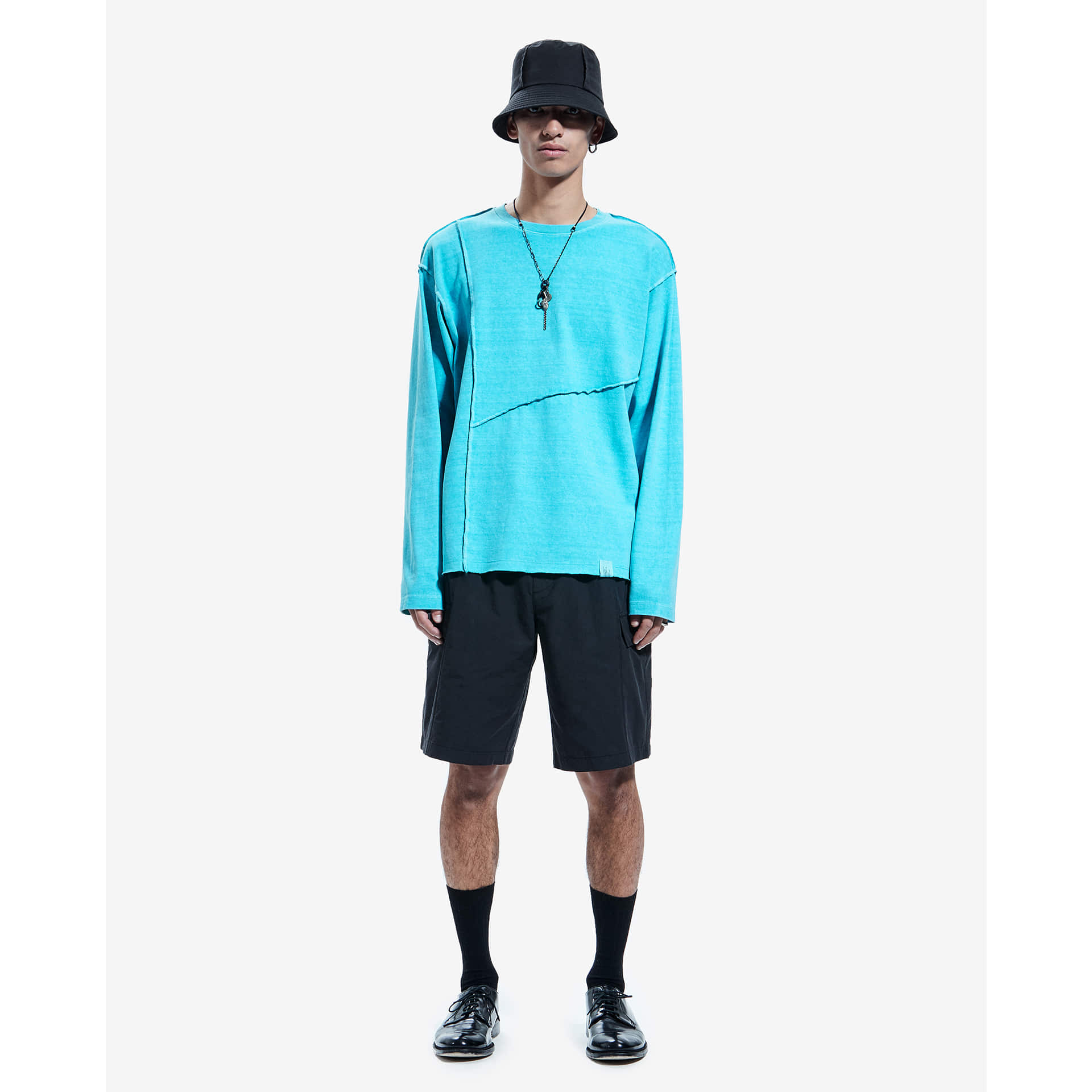 layer-SEAM OUT P-DYED LONG SLEEVE TEE powder blue♡韓國男裝上衣