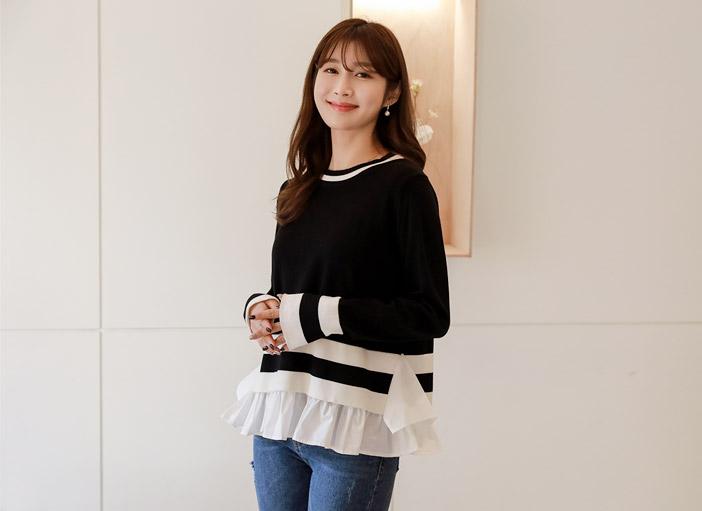 clicknfunny-[레겔르 프릴배색니트]♡韓國女裝上衣