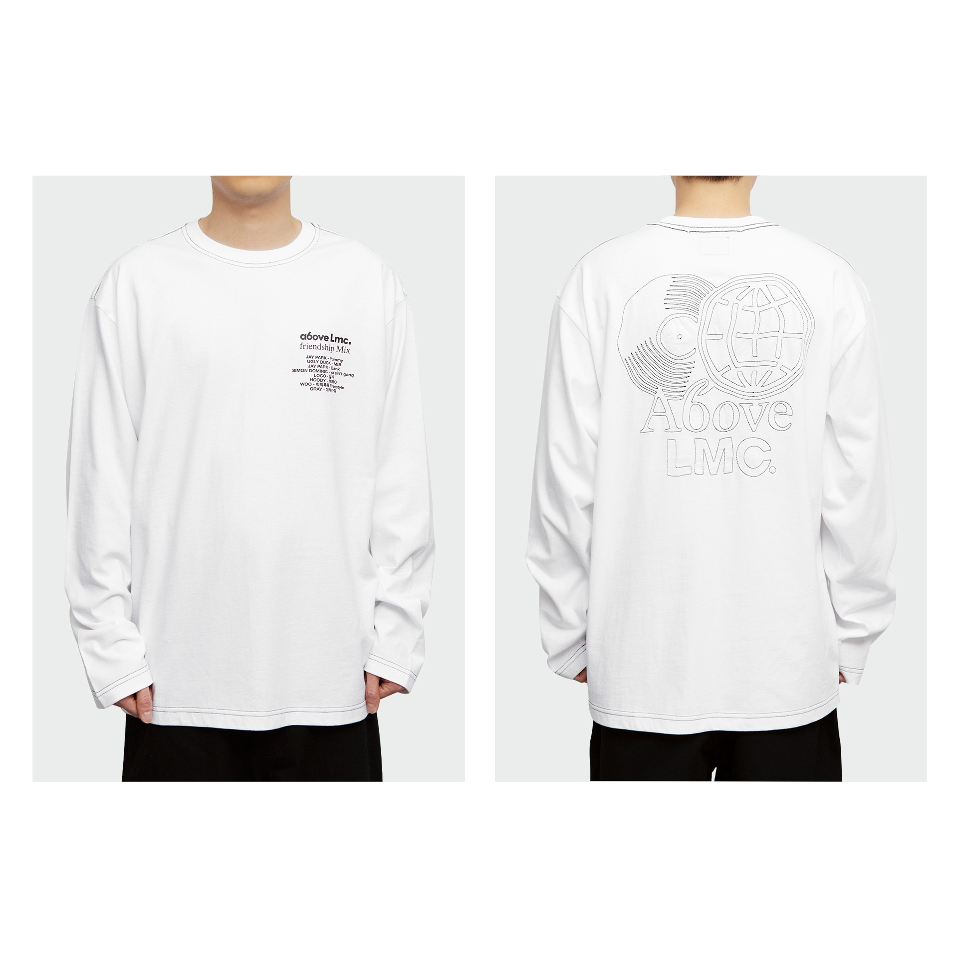 layer-LMC X A6OVE FRIENDSHIP MIX LONG SLV TEE white♡韓國男裝上衣