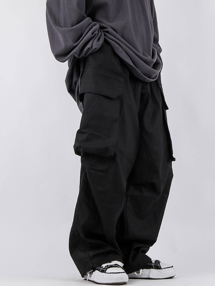 justyoung-MG Cotton Cargo String Balloon Pants (2color)♡韓國男裝褲子