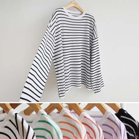 jooen-T4420/Color Striped Loose, Top(55~77)♡韓國女裝上衣