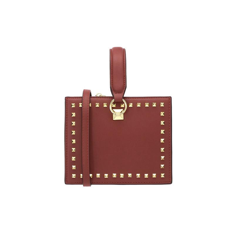 attrangs-bg704 3WAY 스트랩 디자인으로 다채롭게 매치 가능한 스퀘어 쉐입의 스터드 미니백 bag♡韓國女裝袋