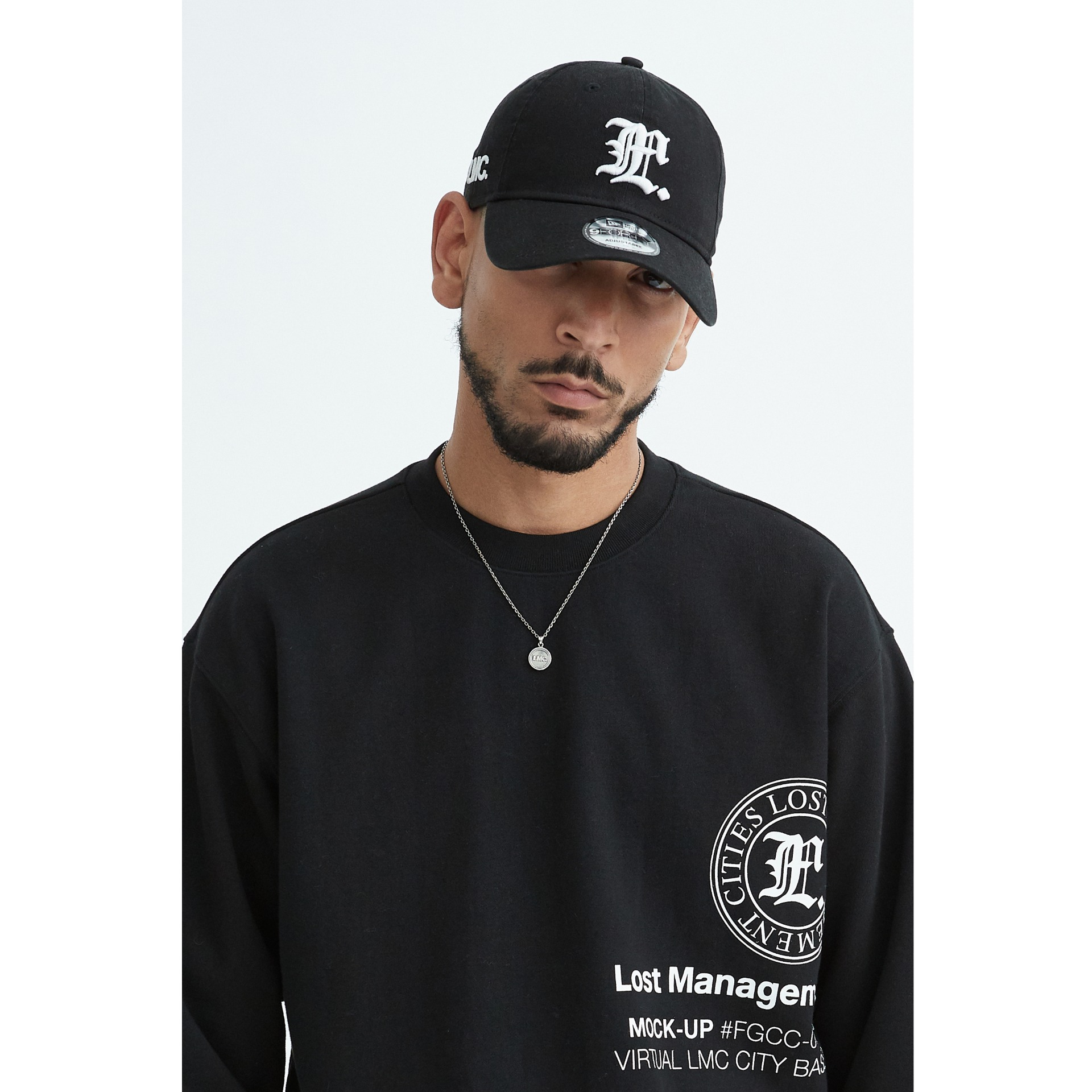 layer-LMC NEW ERA GOTHIC 9FORTY CAP black♡韓國男裝飾品