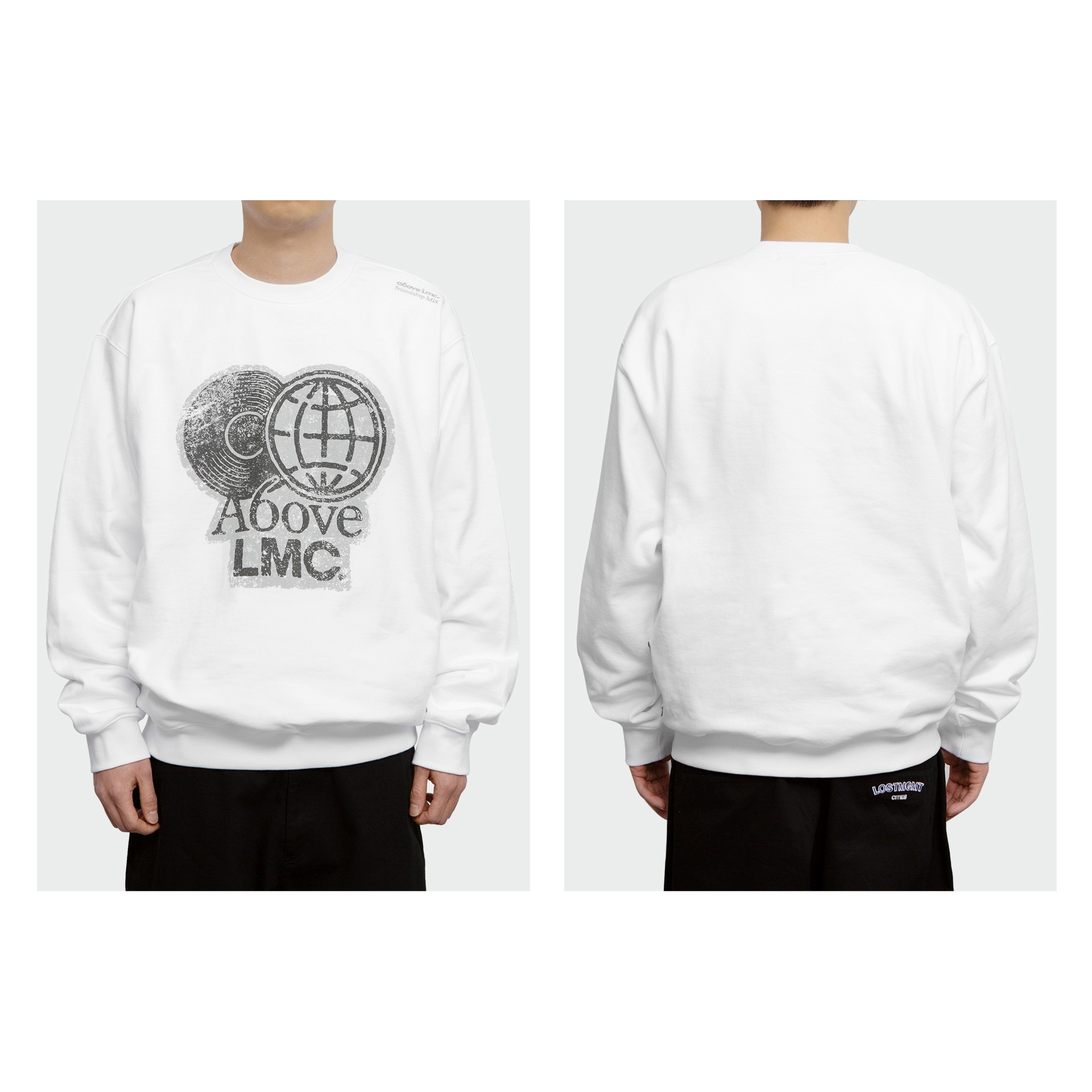 layer-LMC X A6OVE FRIENDSHIP MIX SWEATSHIRT white♡韓國男裝上衣
