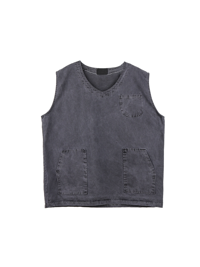 justyoung-PG Pigment Pocket Vest (3color)♡韓國男裝上衣