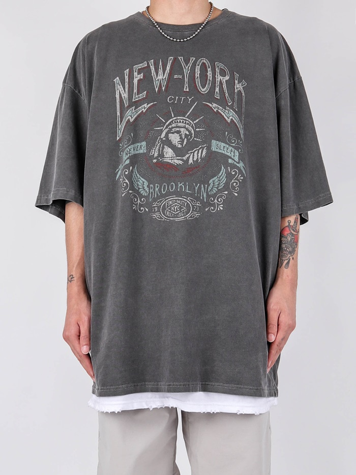 justyoung-TG New York Pigment Short Sleeve Tee (2color)♡韓國男裝上衣