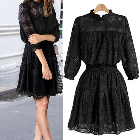 jooen-OPS2870/See-through Frill Flower Pattern Dress(55~66)♡韓國女裝連身裙