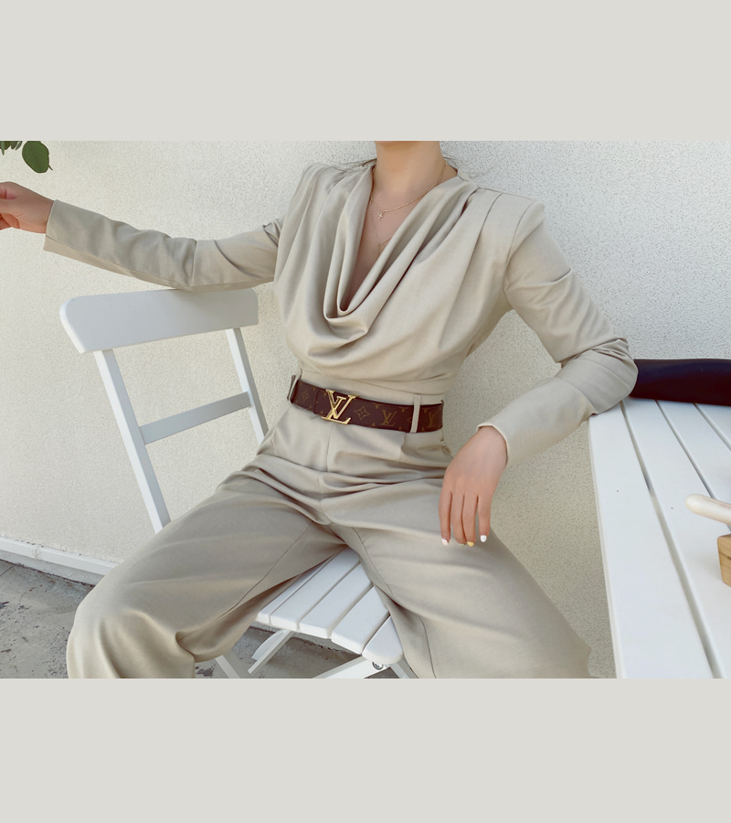 walkingcoco-blair jump-suit (beige)♡韓國女裝連身裙