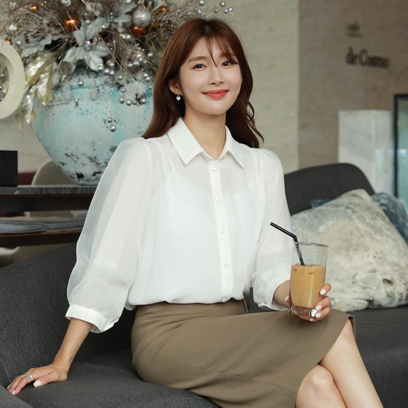 clicknfunny-[브엔퍼프 쉬폰블라우스]♡韓國女裝上衣