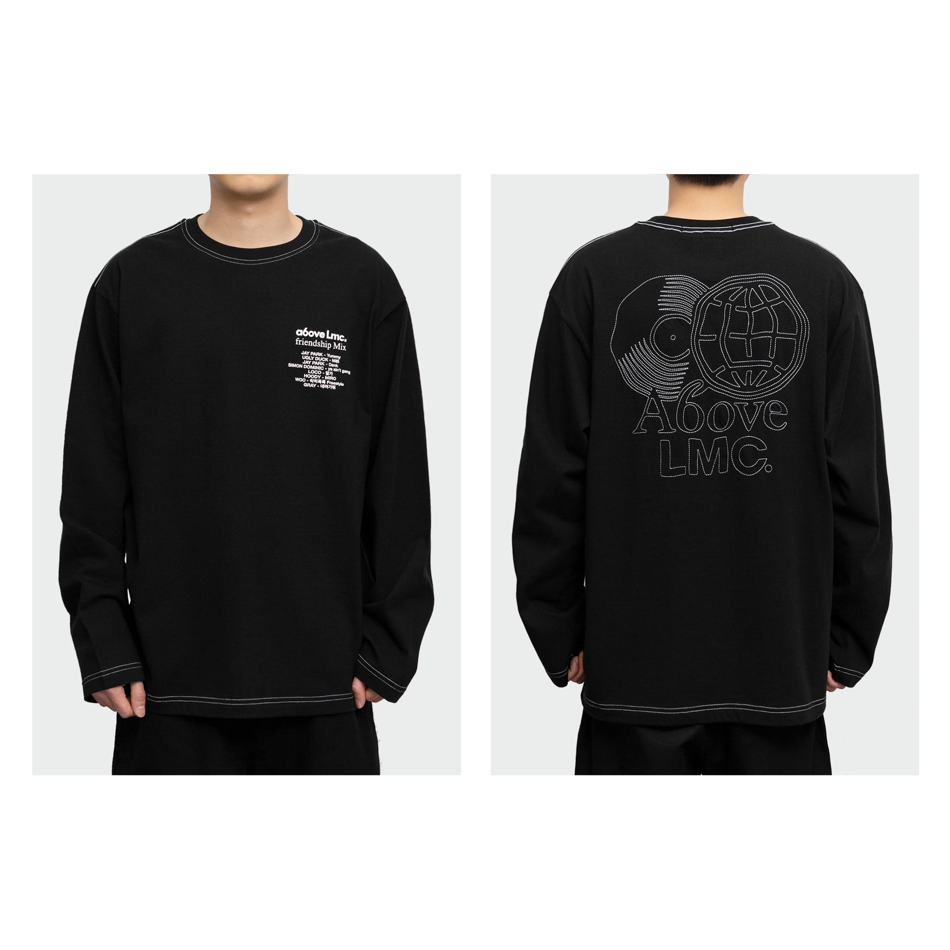 layer-LMC X A6OVE FRIENDSHIP MIX LONG SLV TEE black♡韓國男裝上衣