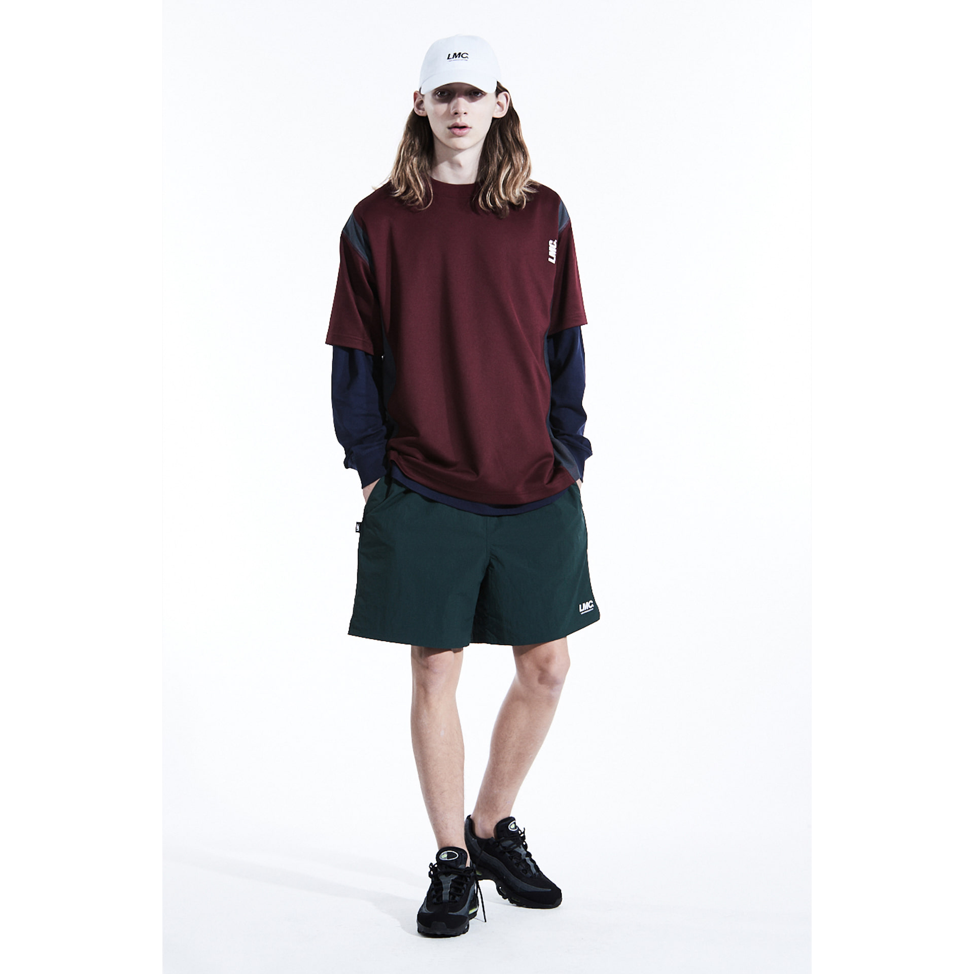 layer-LMC MESH LAYERED JERSEY TEE burgundy♡韓國男裝上衣