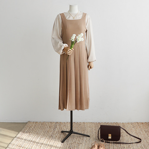 jooen-OPS3508/Charming Girlish Pleats Dress(55~통통66)♡韓國女裝連身裙