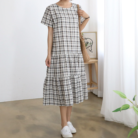 jooen-OPS3337/Check Mood Flare Long Dress♡韓國女裝連身裙