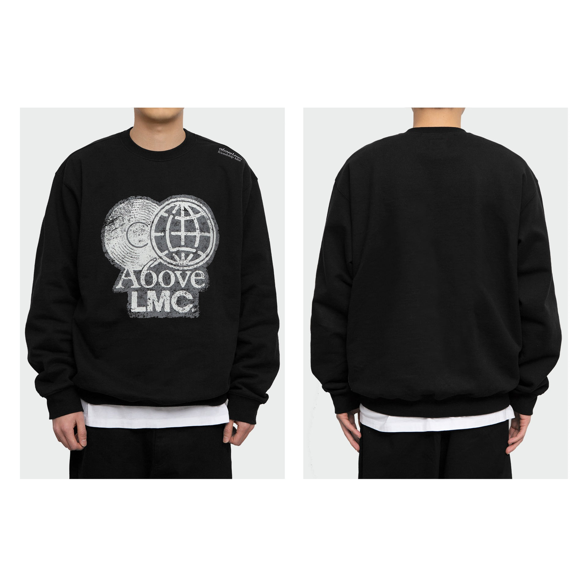 layer-LMC X A6OVE FRIENDSHIP MIX SWEATSHIRT black♡韓國男裝上衣