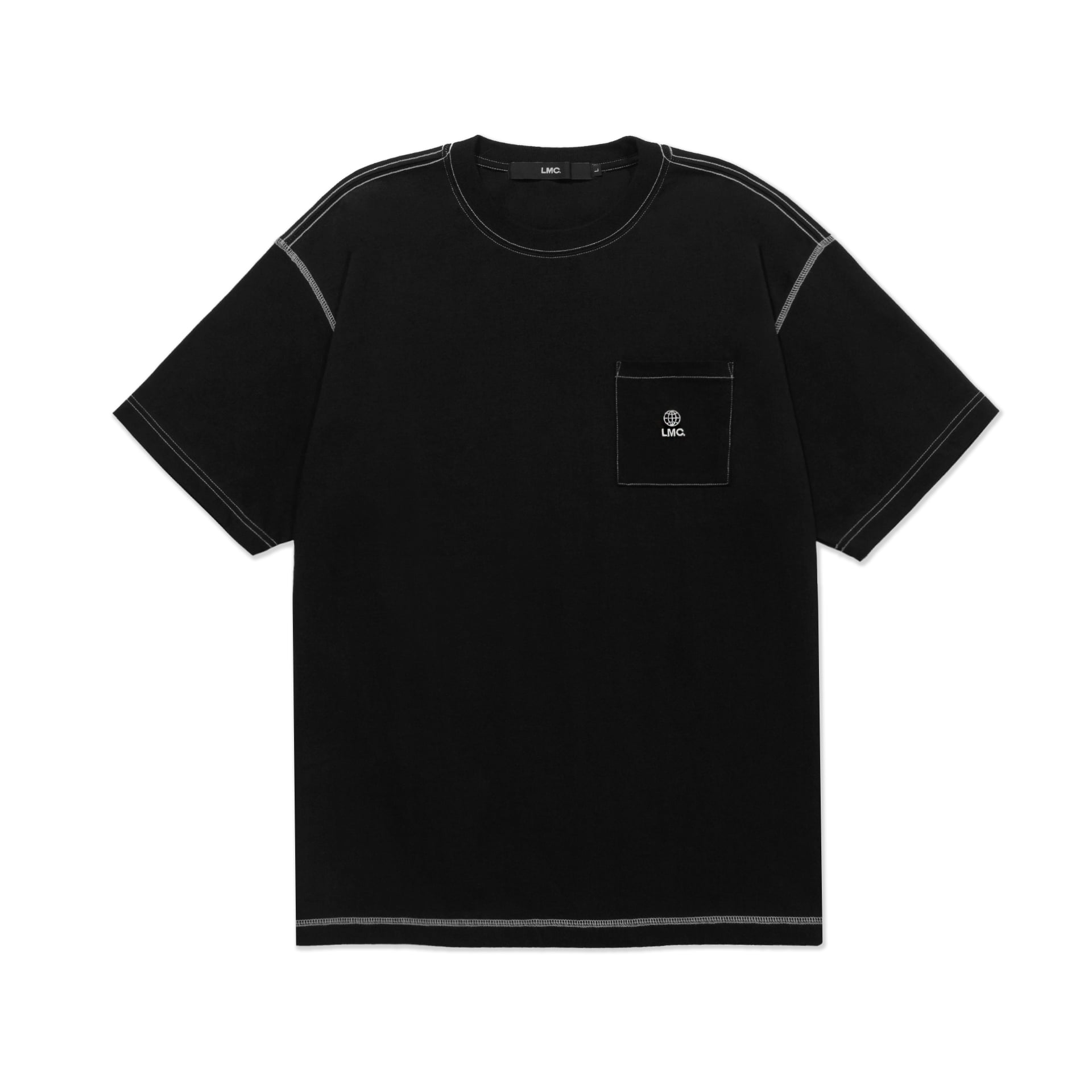 layer-LMC CONTRAST STITCH POCKET TEE black♡韓國男裝上衣