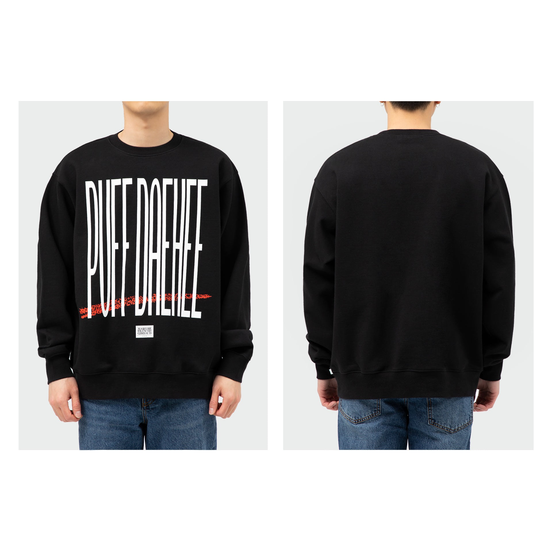 layer-MFG X 8BALLTOWN PUFF DAEHEE SWEATSHIRT black♡韓國男裝上衣