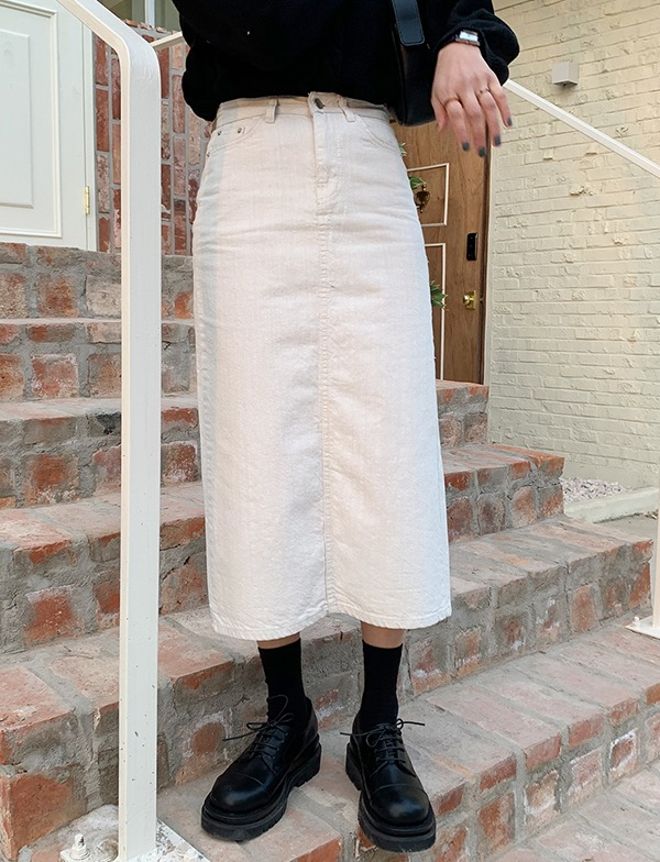 browncode-cream denim skirt♡韓國女裝裙