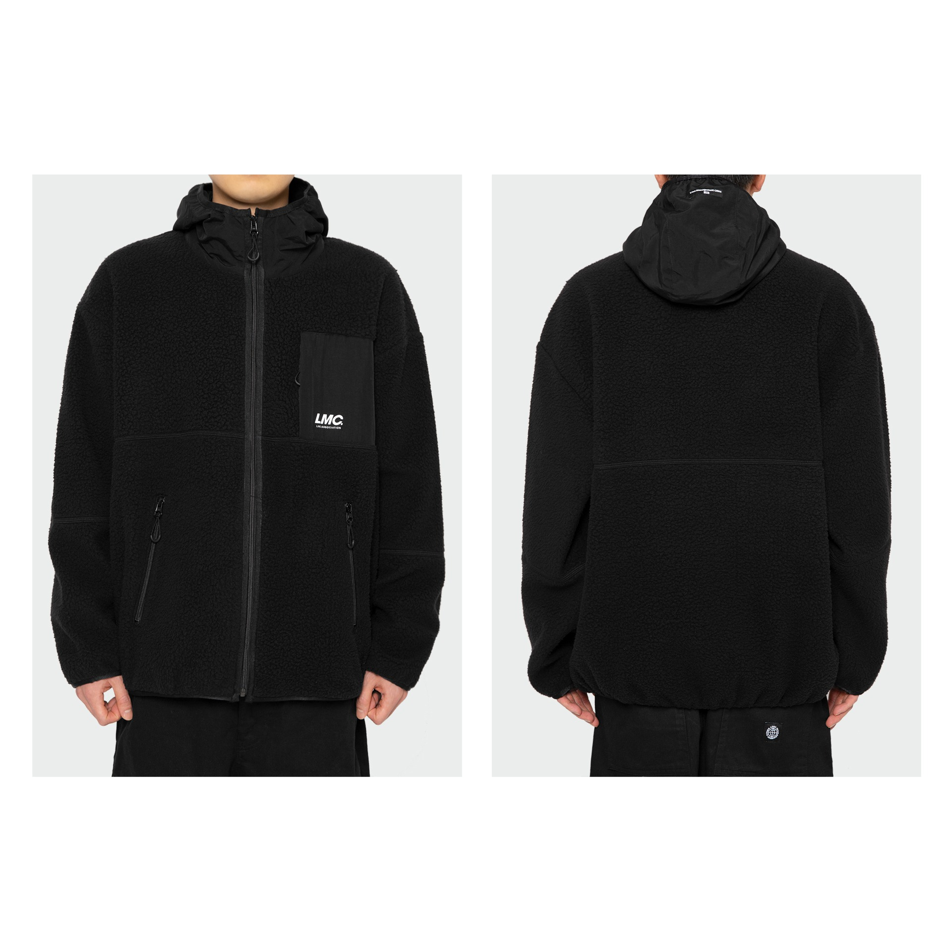 layer-LMC HOODED FLEECE JACKET black♡韓國男裝外套