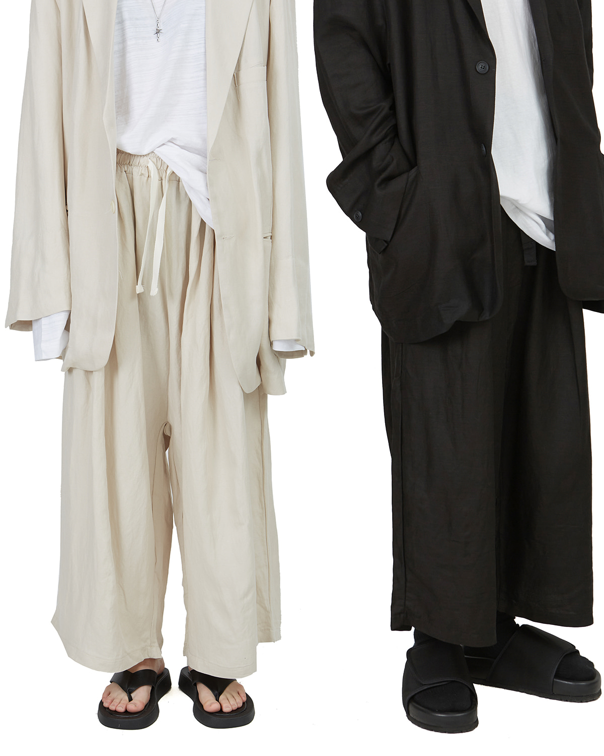 raucohouse-LINEN SET-UP WIDE CROP PANTS - RAUCO HOUSE♡韓國男裝褲子