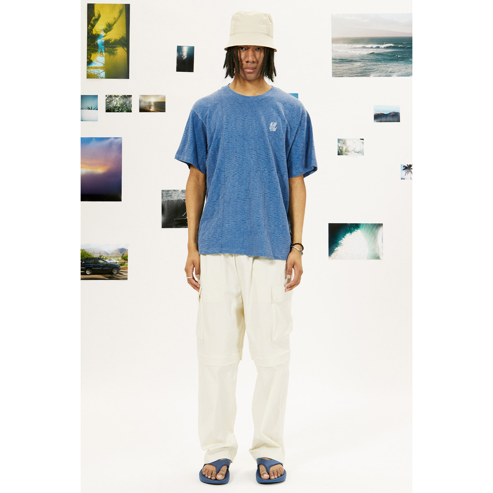 layer-LIFUL X M.NII SEAM OUT TEE blue♡韓國男裝上衣
