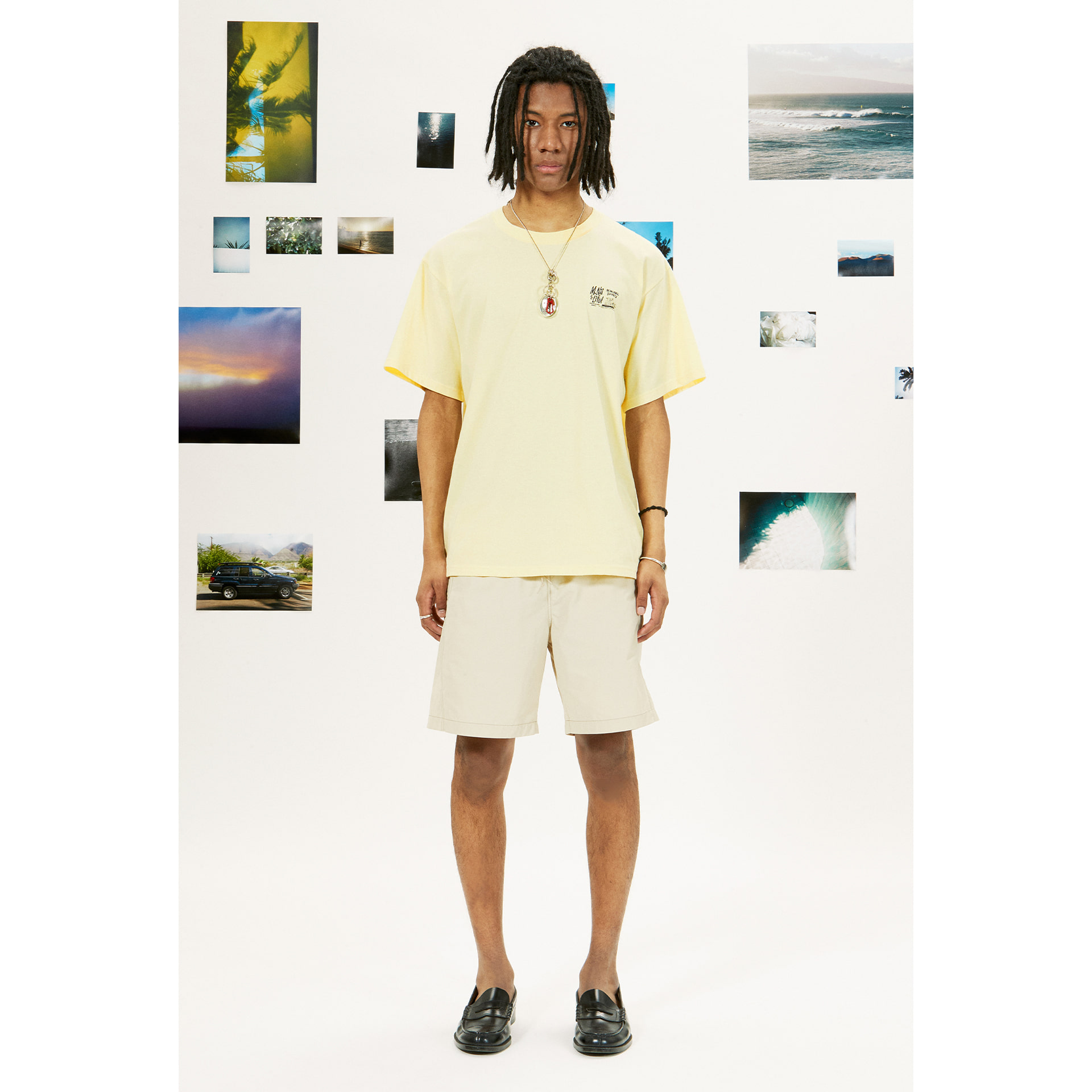 layer-LIFUL X M.NII LOGO TEE light yellow♡韓國男裝上衣