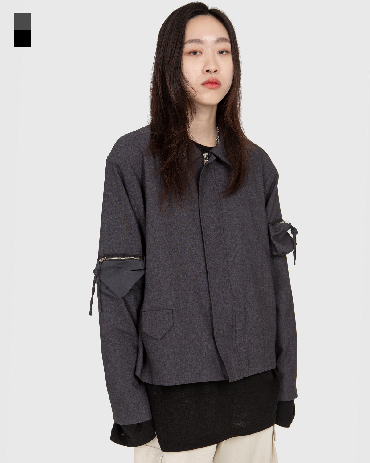 raucohouse-POCKET POLY ZIP UP SHORT JACKET - RAUCO HOUSE♡韓國男裝外套