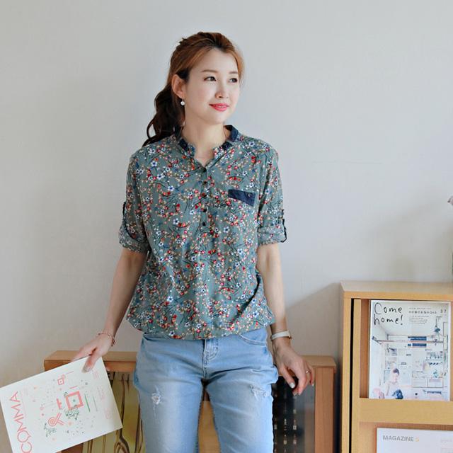 tiramisu-101쟈스민꽃차이나청배색남방♡韓國女裝上衣
