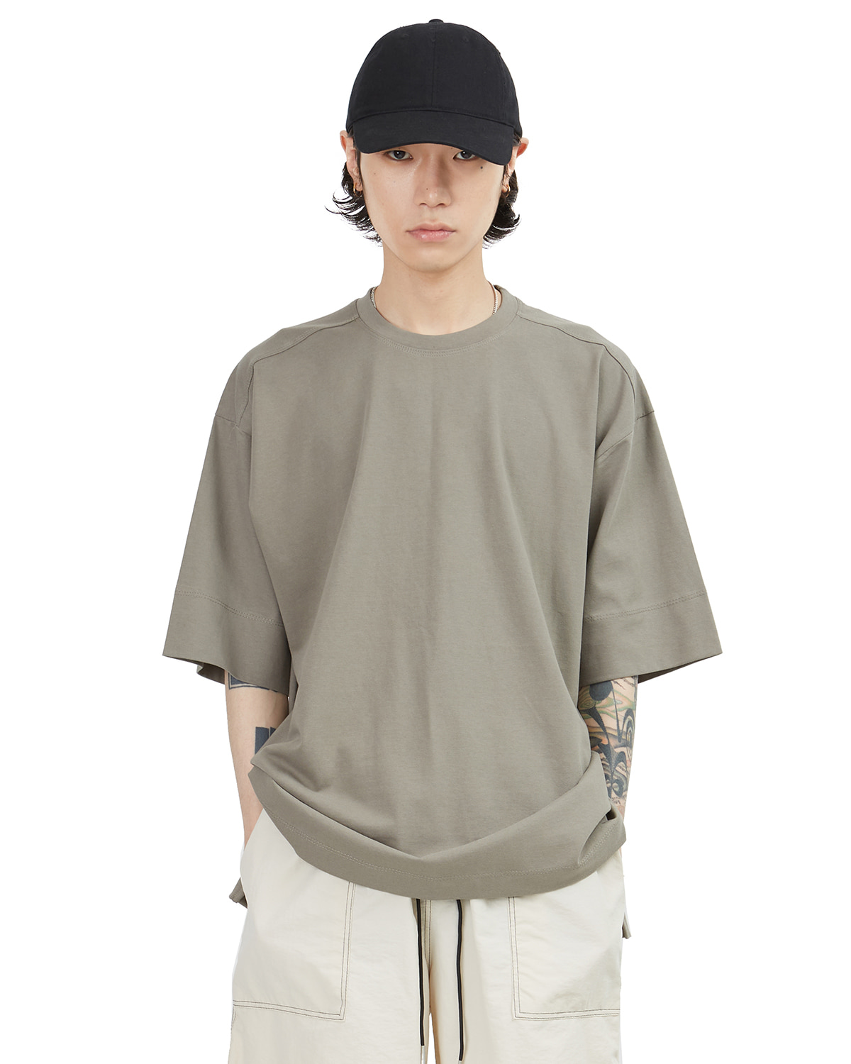 raucohouse-OBLIQUE SLIT OVER T-SHIRTS - RAUCO HOUSE♡韓國男裝上衣