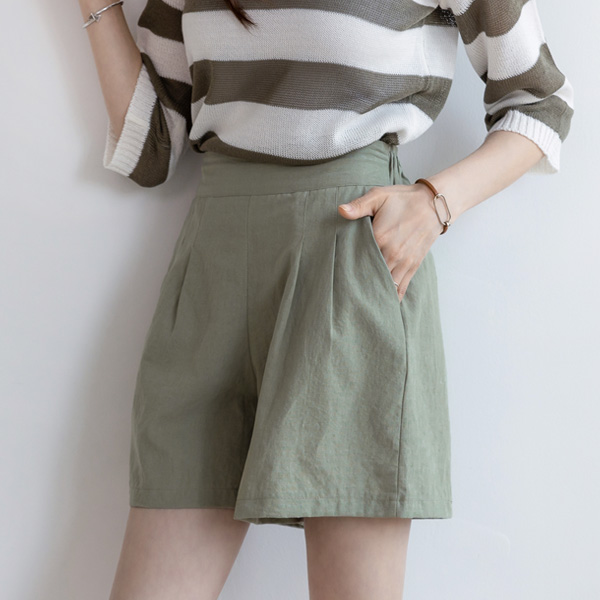 misscandy-[no.18893 더블핀턱 반밴드 4부바지]♡韓國女裝褲