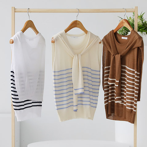 jooen-T4482/Stripe sleeveless, Set(55~통통66)♡韓國女裝上衣