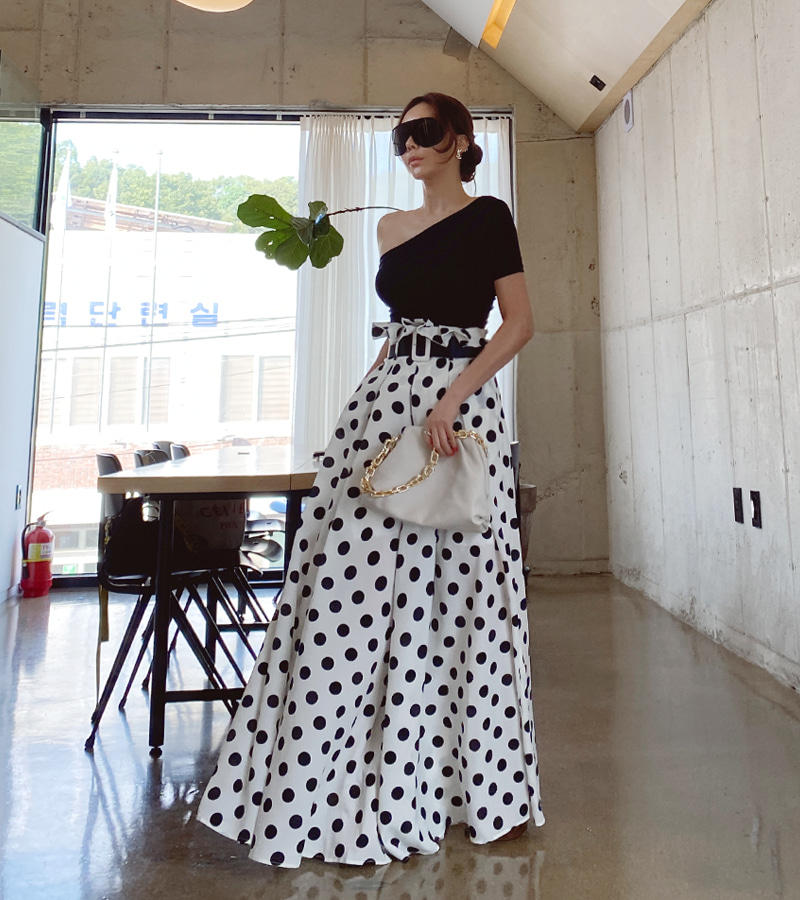 walkingcoco-dot wide pants (ivory)♡韓國女裝褲