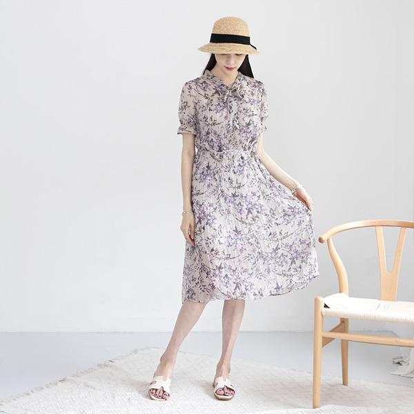 misscandy-[no.17538 로맨틱플라워 루즈핏 플리츠원피스]♡韓國女裝連身裙