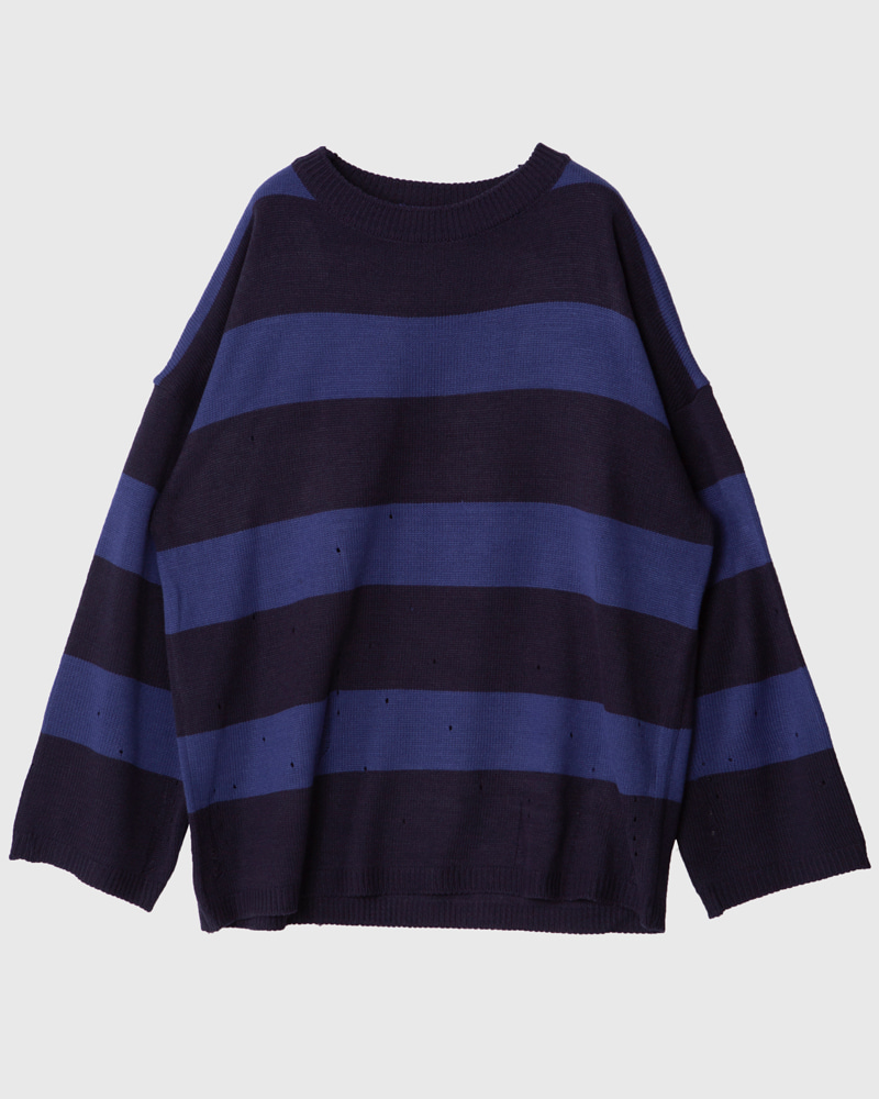 raucohouse-DAMAGE OVER STRIPE KNITWEAR (RESTOCK) - RAUCO HOUSE♡韓國男裝上衣