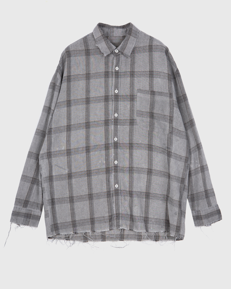 raucohouse-RETRO DAMAGED CHECK SHIRTS - RAUCO HOUSE♡韓國男裝上衣