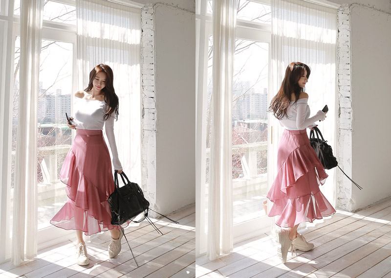 maybins-젠마 프릴 스커트(3color)♡韓國女裝裙