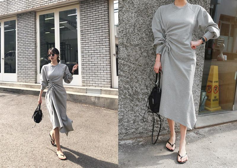 maybins-비페인 셔링 롱 원피스(2color)♡韓國女裝連身裙