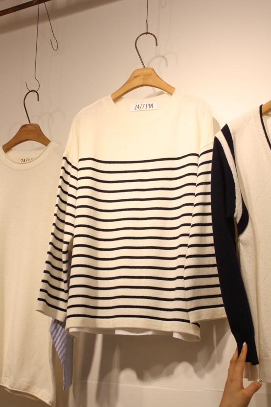 Bon voyage pin-- 女士條紋百搭針織衫
