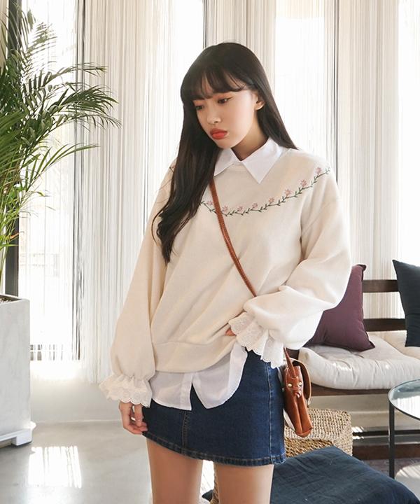 sonyunara-살포시플라워니트♡韓國女裝上衣