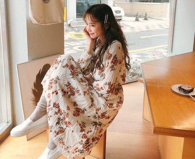 cherryville-[주름예쁜꽃패턴 원피스]♡韓國女裝連身裙