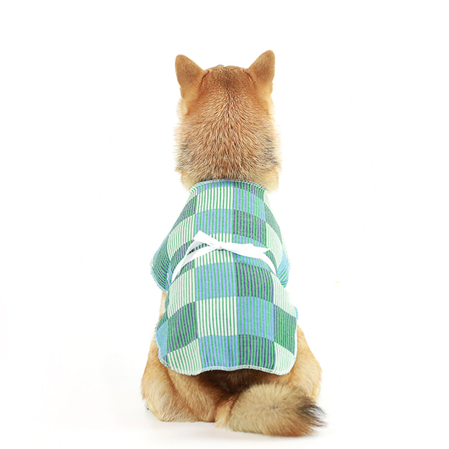 seoul-pet-CHECK PATCH ROBE [GREEN]♡寵物衫