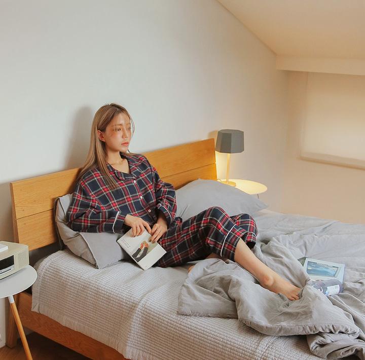 common-unique--소프트 체크 파이핑 파자마 세트♡韓國女裝連身裙